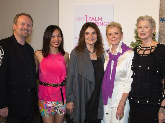(left to right)  Peter Skaaning, Owner of Rapport International Furniture; his lead designer Bonea Skaaning,   artist of the Year, Lita Albuquerque,  arts patron Donna MacMillan, and Elizabeth Armstrong, who is the JoAnn McGrath Executive Director of the Palm Springs Art Museum.