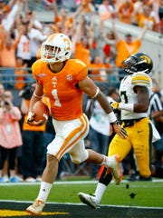 Jalen Hurd #1 of the Tennessee Volunteers crosses the goal line fo a touchdown during the TaxSlayer Bowl at EverBank Field on January 2, 2015 in Jacksonville, Florida.