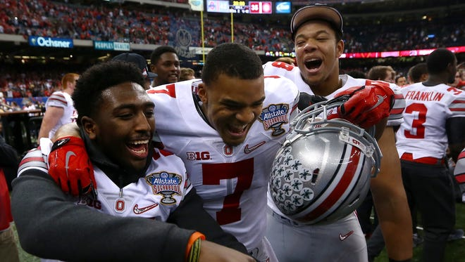 Damon Webb #7 of the Ohio State Buckeyes celebrates after defeating the Alabama Crimson Tide during the All State Sugar Bowl at the Mercedes-Benz Superdome on January 1, 2015 in New Orleans, Louisiana.  The Ohio State Buckeyes defeated the Alabama Crimson Tide 42 to 35.