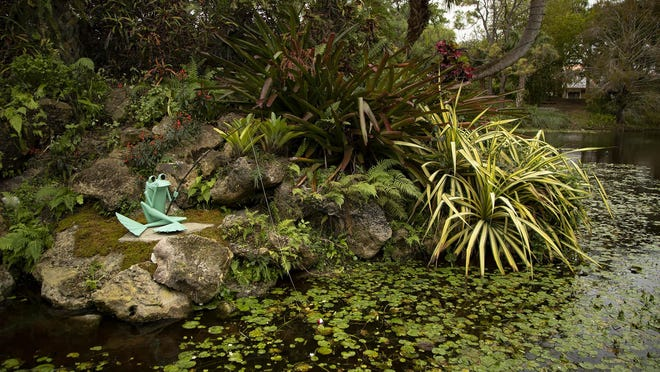 """""""Ribbit the Exhibit"""" opened in January at the Mounts Botanical Garden in West Palm Beach and remains on display. The venue, which closed because of the coronavirus pandemic, will reopen to the public on Tuesday."""