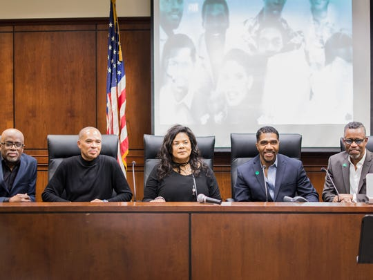 """Six of the original nine members of Atlantic Starr – all Greenburgh natives – gathered at Greenburgh Town Hall on Monday to be honored; the town renamed a section of Old Tarrytown Road, """"Atlantic Starr Way."""" From left: Jonathan Lewis, Davis Lewis, Sharon Bryant, Wayne Lewis, Porter Carroll, Jr. Not pictured: Duke Jones."""