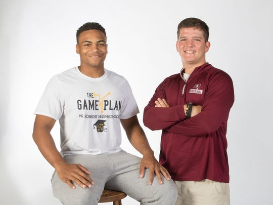 Mr. Robbins' Neighborhood participants Omari Green, left, and Connor Brasell.  May 3, 2018.