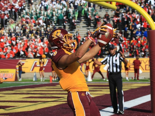 Central Michigan's Mark Chapman celebrates after catching a 13-yard touchdown pass against UNLV on Sept. 17, 2016, in Mt. Pleasant.