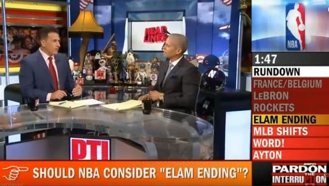 ESPN hosts Frank Isola, left, and Israel Gutierrez discuss the Elam Ending.