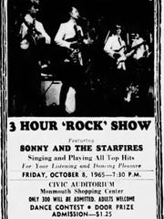 A 1965 advertisement for an appearance by Sonny and The Starfires at Monmouth Shopping Center's Civic Auditorium.
