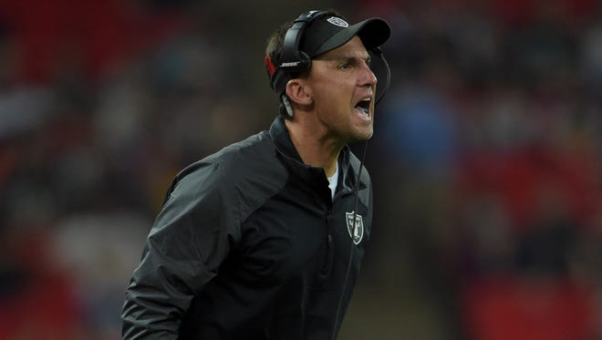 Oakland Raiders coach Dennis Allen reacts during the game against Miami Dolphins in the NFL International Series game at Wembley Stadium.