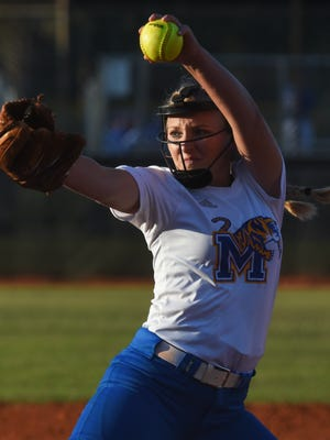 Martin County's Emily MacMullen pitches Wednesday, April 11, 2018, during her team's high school softball game against South Fork at South Fork High School in Tropical Farms.