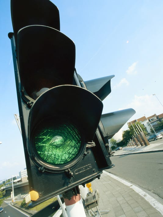 Traffic light signalling green, close-up