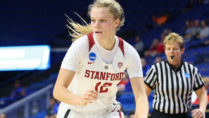 Stanford guard Brittany McPhee dribbles the ball against
