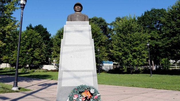 A statue of Henry Johnson is displayed in the Arbor Hill neighborhood in Albany. The secretary of defense has recommended awarding a posthumous Medal of Honor to the black soldier from upstate New York who saved a comrade while fighting off a German attack in France during World War I.