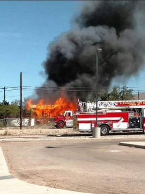 A fire broke out at a residence near Yucca Elementary School Wednesday morning. The fire destroyed a shed and damaged two vehicles.