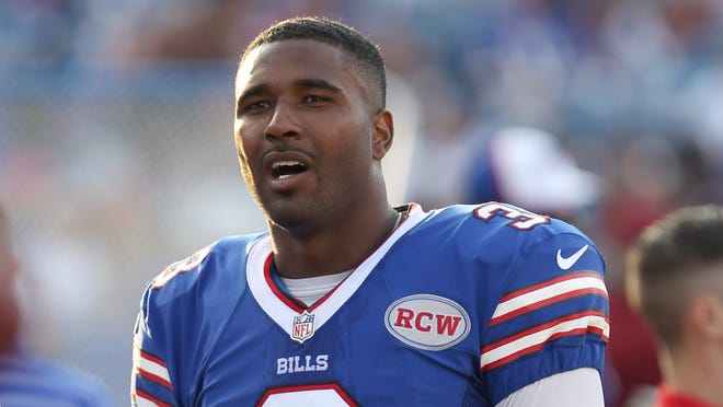 Buffalo Bills quarterback EJ Manuel (3) on the sideline during the second half against the Tampa Bay Buccaneers at Ralph Wilson Stadium.