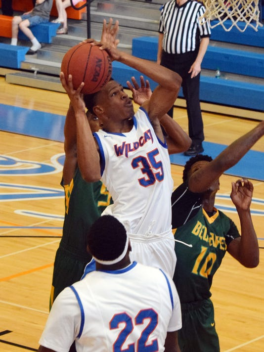 Louisiana College's Anthony Gaines Jr., (35) goes for two against Belhaven Saturday.
