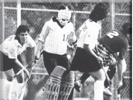 Elizabeth Ferrara played goalie for Rutgers field hockey from 1982-84, after the program started in 1974.