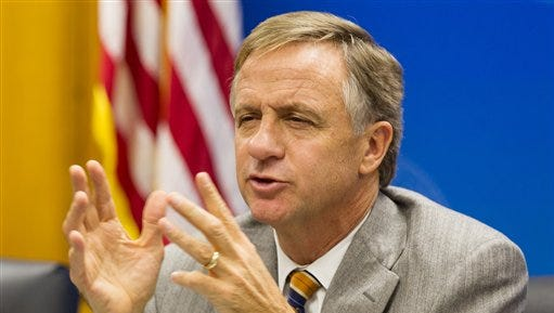 In this Dec. 2, 2014 file photo Tennessee Gov. Bill Haslam speaks at the state Capitol in Nashville.