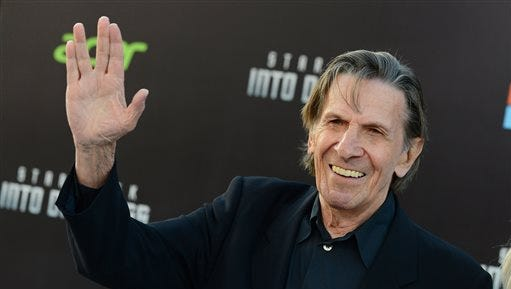 "In this May 14, 2013 file photo, Leonard Nimoy arrives at the LA premiere of ""Star Trek Into Darkness"" at The Dolby Theater in Los Angeles. Nimoy, famous for playing officer Mr. Spock in ""Star Trek"" died Friday in Los Angeles of end-stage chronic obstructive pulmonary disease. He was 83."