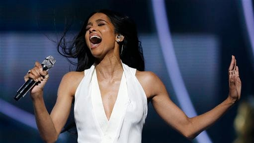 Singer Ciara performs during a taping of the Black Girls Rock award ceremony at the New Jersey Performing Arts Center, Saturday, March 28, 2015, in Newark, N.J. United States First Lady Michelle Obama attended the taping and gave a speech during the ceremony.