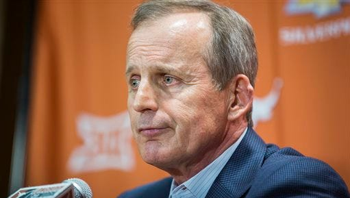 Fired Texas basketball coach Rick Barnes speaks during a news conference Sunday, March 29, 2015, in Austin, Texas. Barnes fought back tears in saying goodbye to Texas after 17 years, insisting he's grateful for his time with Longhorns and isn't bitter about being fired.