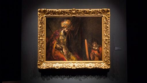 "This photo provided Tuesday, June 9, 2015 by Mauritshuis shows Rembrandt's ""Saul and David"" after restororation. After a CSI-style investigation, the Mauritshuis museum has declared on Tuesday that one of the stars of its collection really is by Dutch master Rembrandt van Rijn. Researchers used advanced X-Ray techniques to peer through several coats of paint that had been applied during previous restorations of ""Saul and David"" and establish that the original pigments were the same as those Rembrandt used in the 17th Century. (Ivo Hoekstra/Mauritshuis via AP)"