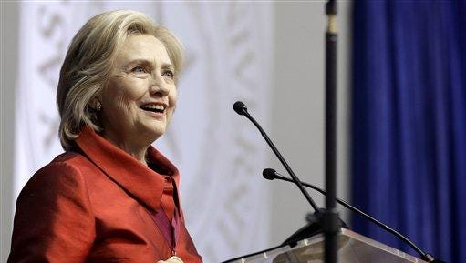 In this June 4 photo, Democratic presidential candidate Hillary Rodham Clinton speaks in Houston.