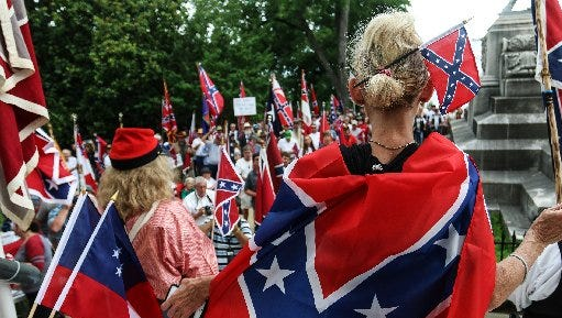 A pro-Confederate flag rally in Montgomery, Alabama on June 27