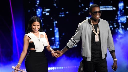 Nicki Minaj, left, and Meek Mill perform at the BET Awards at the Microsoft Theater on Sunday, June 28, 2015, in Los Angeles.