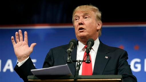 In this June 16 file photo, Republican presidential candidate Donald Trump speaks to supporters during a rally, in Des Moines, Iowa.