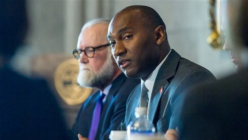 Senate Minority Leader Lee Harris, D-Memphis, speaks during a roundtable in Nashville on Thursday, Aug. 13, 2015, about the state's new law stripping local governments of the power to ban people with handgun carry permits from being armed in parks.