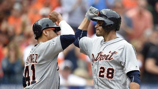 The Tigers' Victor Martinez, left, and J.D. Martinez would both be gone under one writer's plan.