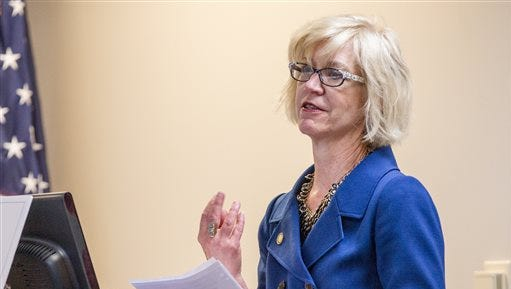 Ann Butterworth, the head of the state Office of Open Records Counsel, speaks at a hearing in Nashville on Wednesday, Sept. 16, 2015, about legislative proposals to allow government officials to charge citizens to view public records.