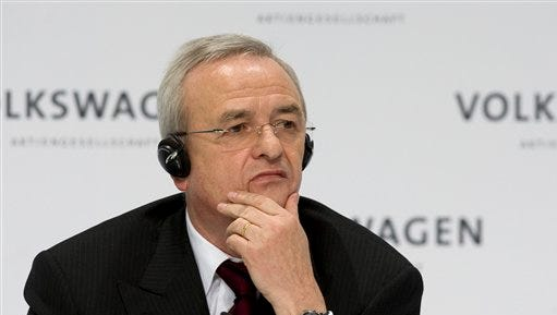 In this March 12, 2009 file photo Martin Winterkorn, chairman of the board of the Volkswagen group, during the annual press conference in Wolfsburg, northern Germany. Prosecutors said Monday they are opening investigations against Winterkorn on the suspicion of fraud by selling cars with with manipulated emission tests.