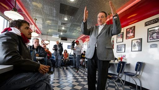 Republican presidential candidate, former Arkansas Governor Mike Huckabee, speaks during a campaign stop at Penny's Diner in Missouri Valley, Iowa, Friday, Oct. 30, 2015.