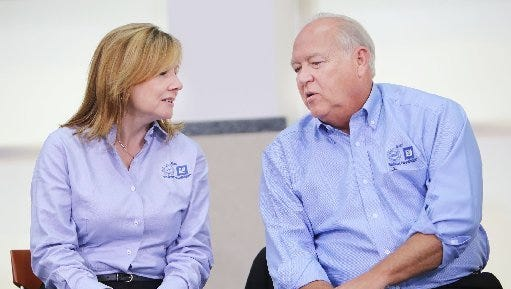 General Motors CEO Mary Barra and UAW President Dennis Williams talk during the opening day of negotiations in July.