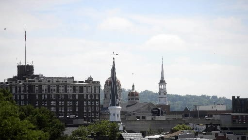 A view of downtown York from Think Loud Development's rooftop patio.