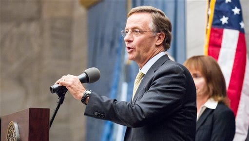 Republican Gov. Bill Haslam speaks at a press conference at the state Capitol in Nashville on Tuesday about his plan to grant more autonomy to six public universities in the Tennessee Board of Regents system. Under his proposal, each school would get local boards with power to decide budgets, tuition and leadership matters.