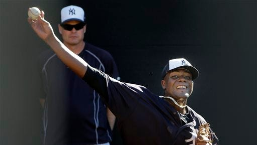 New York Yankees pitcher Michael Pineda throws in the bullpen during a spring training baseball workout Monday, Feb. 22, 2016, in Tampa, Fla. (AP Photo/Chris O'Meara)