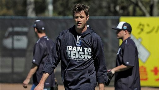 New York Yankees pitcher Andrew Miller during a spring training baseball workout Friday, Feb. 19, 2016, in Tampa, Fla. (AP Photo/Chris O'Meara)
