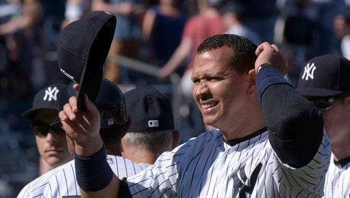 New York Yankees' Alex Rodriguez smiles after the Yankees defeated the Seattle Mariners 4-3 in a baseball game Sunday, April 17, 2016, at Yankee Stadium in New York.