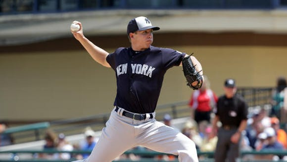 New York Yankees' Chad Green pitches against the Detroit
