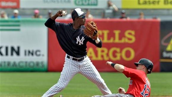 New York Yankees shortstop Jorge Mateo forces Boston