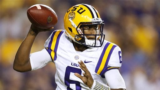LSU quarterback Brandon Harris (6) throws the ball during the second half of an NCAA college football game against Texas A&M in Baton Rouge last season.