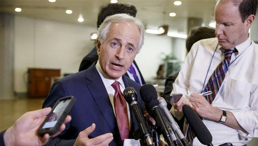 Feb. 10, 2015: Senate Foreign Relations Committee Chairman Sen. Bob Corker, R-Tenn., answers questions following a closed-door security briefing on nuclear negotiations with Iran.