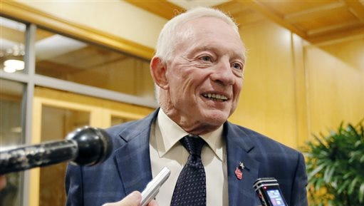 In this Dec. 2, 2015 file photo, Dallas Cowboys owner Jerry Jones speaks to the media in Irving, Texas.