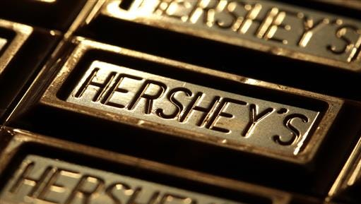 This July 25, 2011, file photo shows Hershey's chocolate in Overland Park, Kansas. Shares of Hershey are soaring Thursday, June 30, 2016, after a report that it could be taken over by Oreo cookie maker Mondelez International.