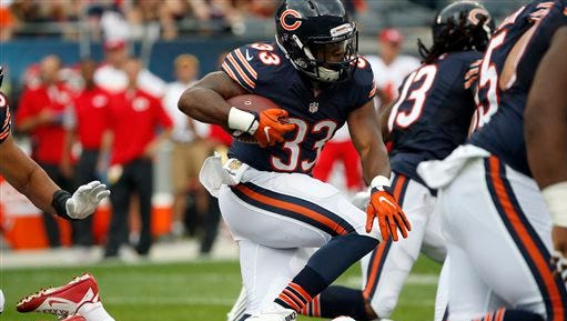 Chicago Bears running back Jeremy Langford runs against Kansas City Chiefs defense during the first half of an NFL preseason football game, Saturday, Aug. 27, 2016, in Chicago. (AP Photo/Nam Y. Huh)