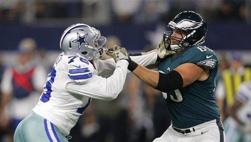 The Eagles' Lane Johnson (right) was suspended Tuesday for using a performance-enhancing substance and will miss 10 games.