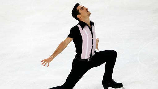 Javier Fernandez of Spain competes in the Men Free Skating Program during the ISU figure skating France's Trophy at Bercy arena, in Paris, France, Saturday, Nov. 12, 2016.