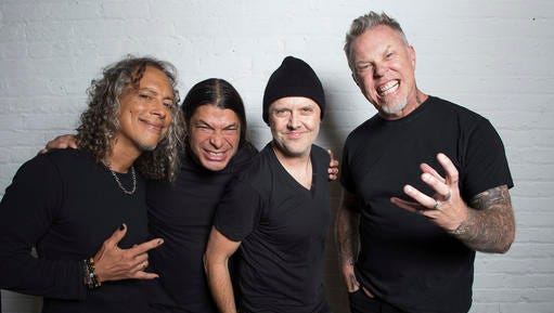 """In this Sept. 22, 2016 photo, Metallica band members, from left, Kirk Hammett, Robert Trujillo, Lars Ulrich and James Hetfield pose for a portrait in New York to promote their first album in eight years, """"Hardwired… To Self-Destruct."""""""