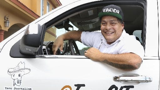 "Mando Rayo drives his ""Chevy Taco Truck"" on his tour of Texas taquerias at Taqueria El Potro on Aug. 13, 2015."
