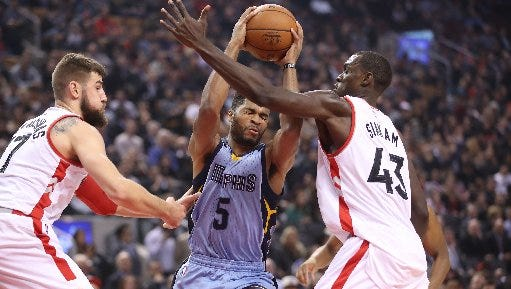 Memphis Grizzlies rookie point guard Andrew Harrison (5)  had a career-high 21 points at Air Canada Center Wednesday night..